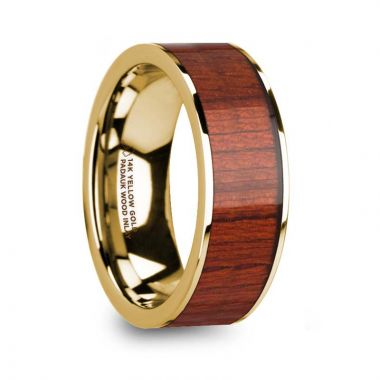 Thorsten USIRIS Padauk Wood Inlaid 14k Yellow Gold Flat Wedding Ring with Polished Finish - 8mm