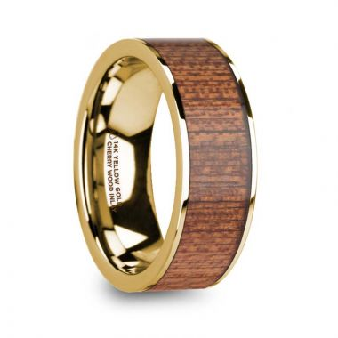 Thorsten VASILIOS Cherry Wood Inlaid Polished 14k Yellow Gold Men's Flat Wedding Ring - 8mm