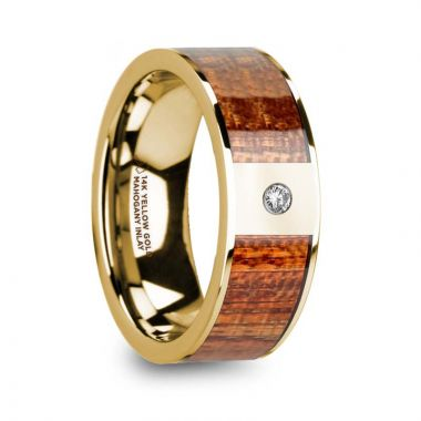 Thorsten XANTHOS Men's Mahogany Wood Inlaid Polished 14k Yellow Gold Wedding Band with Diamond - 8mm