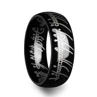Thorsten LOTR Lord of the Rings Black Tungsten Ring The One Engraved Sauron's Band - 6 mm - 10 mm
