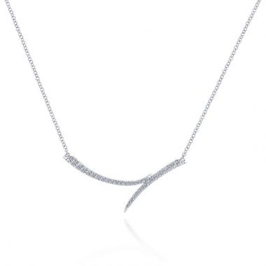 Gabriel & Co. 14k White Gold Kaslique Diamond Bar Necklace