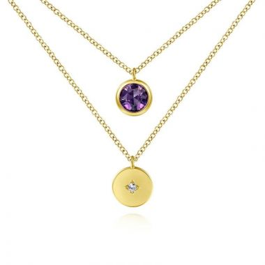Gabriel & Co. 14k Yellow Gold Color Solitaire Gemstone & Diamond Necklace