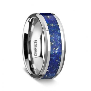 Thorsten MALONE Men's Titanium Wedding Ring with Blue Lapis Inlay & Beveled Edges - 8 mm