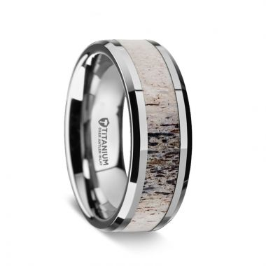 Thorsten CARIBOU Polished Beveled Titanium Men's Wedding Band with Ombre Deer Antler Inlay - 8 mm