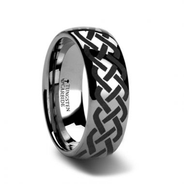 Thorsten ADDISON Domed Tungsten Ring with Celtic Knot Design - 4mm - 12mm