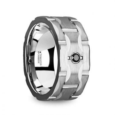 Thorsten SAINT Brushed Tungsten Wedding Band with Grooves & Black Diamond - 10mm