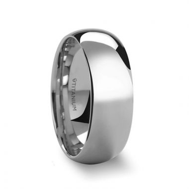 Thorsten PETERSON Titanium Polished Finish Domed Men's Wedding Band - 6mm & 8mm