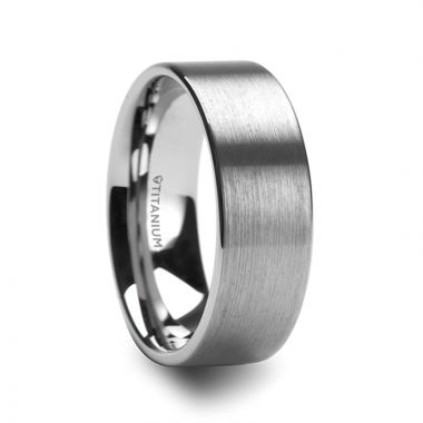 Thorsten SOLAR Flat Profile Brushed Finish Men's Titanium Wedding Band - 8mm