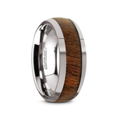 Thorsten JUGLAN Tungsten Carbide Polished Finish Men's Domed Wedding Ring with Exotic Black Walnut Wood Inlay - 8mm
