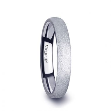 Thorsten QUARTZ Domed Tungsten Carbide Ring with Sandblasted Crystalline Finish - 2mm - 8mm