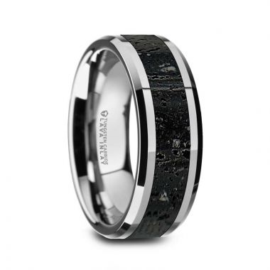 Thorsten KILAUEA Men's Polished Tungsten Wedding Band with Black & Gray Lava Rock Stone Inlay & Polished Beveled Edges - 8mm