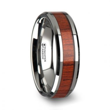 Thorsten NARRA Tungsten Wood Ring with Polished Bevels and Padauk Real Wood Inlay - 6mm - 10mm
