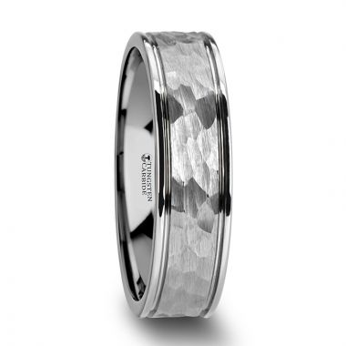 Thorsten THORNTON Hammered Finish Center White Tungsten Carbide Wedding Band with Dual Offset Grooves and Polished Edges 6mm and 8 mm
