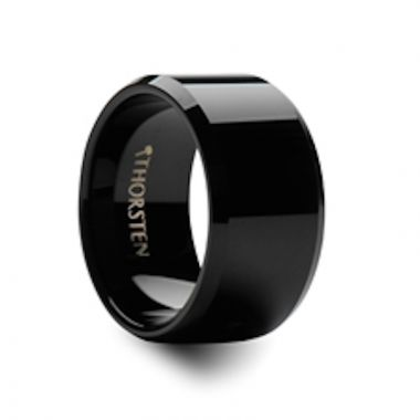 Thorsten SEATTLE 12mm Beveled Black Tungsten Carbide Ring