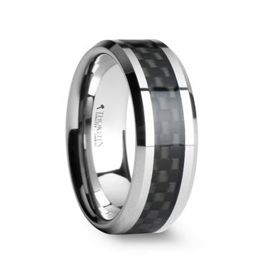 Thorsten MAXIMUS Black Carbon Fiber Inlay Tungsten Carbide Wedding Band - 4mm - 12mm