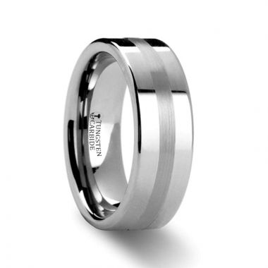 Thorsten IVAR Platinum Inlaid Pipe Cut Tungsten Carbide Ring - 6mm & 8mm