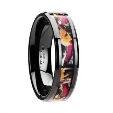 Thorsten LAUREL Realistic Tree Camo Black Ceramic Wedding Band with Real Pink Oak Leaves - 6mm - 8mm