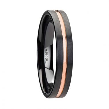 Thorsten VENICE Black Ceramic Wedding Band With Rose Gold Groove - 4mm - 10mm