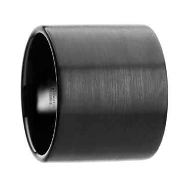 Thorsten NERO Flat Pipe Cut Black Tungsten Carbide Ring with Brushed Finish - 20 mm
