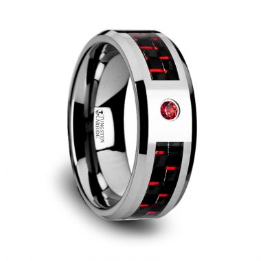 Thorsten ADRIAN Tungsten Carbide Ring with Black and Red Carbon Fiber and Red Sapphire Setting with Bevels - 8mm