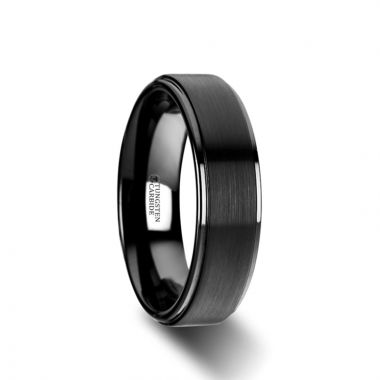 Thorsten ORION Flat Black Tungsten Ring with Brushed Raised Center & Polished Edges - 6mm & 8mm