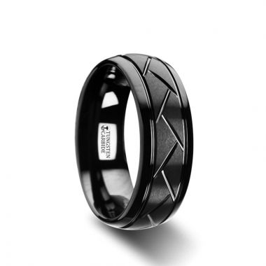 Thorsten ENIGMA Domed Black Tungsten Ring with Brushed Cross Alternating Diagonal Cuts Pattern - 8mm