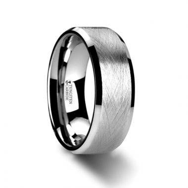 Thorsten THORNE Flat Tungsten Carbide Ring with Wire Brushed Finish and Beveled Edges - 6mm & 8mm