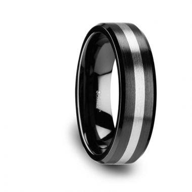 Thorsten PHOENIX Brushed Black Ceramic Ring with Beveled Edges and Tungsten Inlay 6mm & 8mm