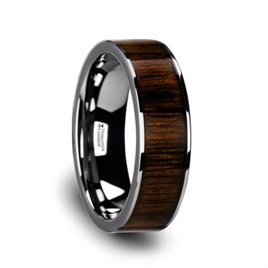 Thorsten BOKKEN Flat Tungsten Wedding Band with Black Walnut Wood Inlay & Polished Edges - 6mm - 10mm