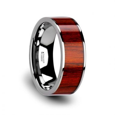 Thorsten CLAYMORE Flat Tungsten Carbide Band with Exotic Padauk Wood Inlay and Polished Edges - 8mm