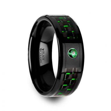 Thorsten HADAR Black Ceramic Ring with Black and Green Carbon Fiber and Green Emerald Setting - 8mm