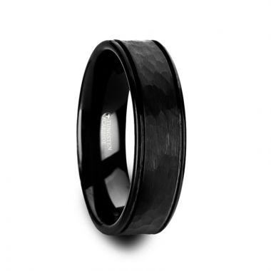 Thorsten JOINER Hammered Finish Center Black Tungsten Carbide Wedding Band with Dual Offset Grooves and Polished Edges - 6mm & 8mm