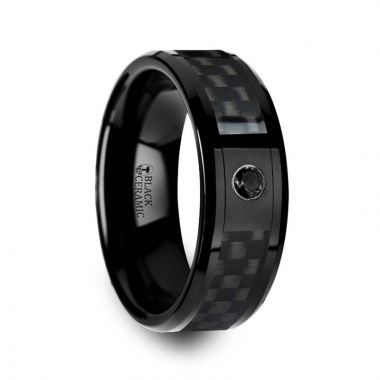 Thorsten ABERDEEN Black Ceramic Ring with Black Diamond Wedding Band and Black Carbon Fiber Inlay - 8mm