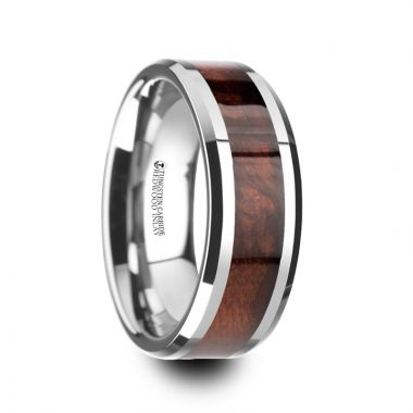 Thorsten AUBURN Red Wood Inlaid Tungsten Carbide Ring with Bevels - 8mm