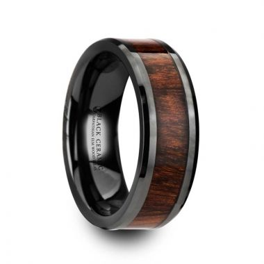 Thorsten THRACIAN Carpathian Wood Inlaid Black Ceramic Ring with Bevels - 8mm