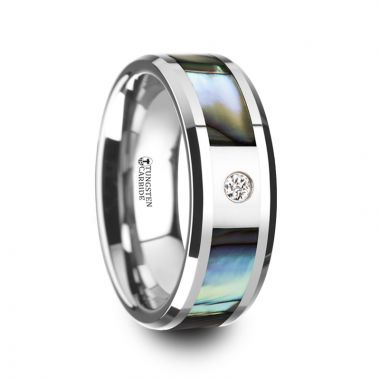 Thorsten HONOLULU Mother of Pearl Inlay Tungsten Carbide Ring with Beveled Edges and White Diamond - 8mm