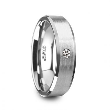 Thorsten PORTER Brushed Finish Tungsten Carbide Wedding Ring with White Diamond Setting and Beveled Edges- 6 mm & 8 mm
