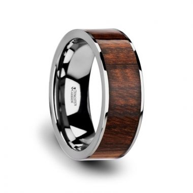 Thorsten THRACO Flat Carpathian Wood Inlaid Tungsten Carbide Ring with Polished Edges - 8mm