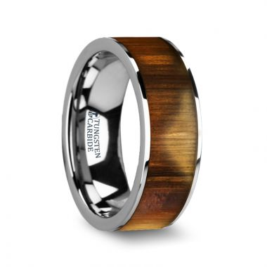 Thorsten GALEGA Olive Wood Inlaid Flat Tungsten Carbide Ring with Polished Edges - 8mm