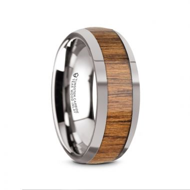 Thorsten THEKKA Domed Tungsten Carbide Polished Edges Teak Wood Inlaid Men's Wedding Ring - 8mm