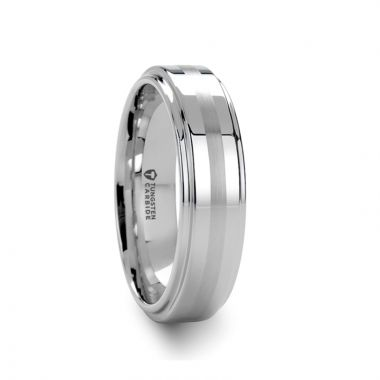 Thorsten ADAIR Brushed Stripe White Tungsten Carbide Ring with Raised Center - 8mm