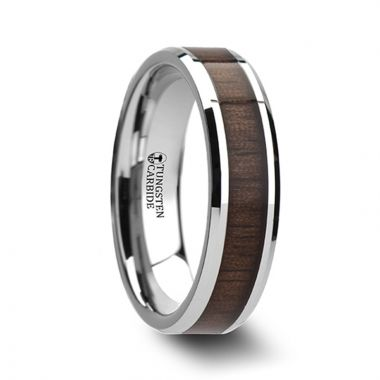 Thorsten HALIFAX Beveled Tungsten Carbide Ring with Black Walnut Wood Inlay - 4mm - 12mm