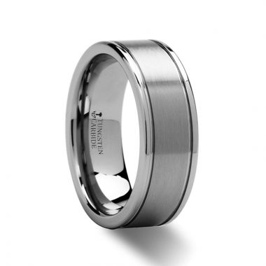 Thorsten BRIDGEPORT Pipe Cut Brush Finish Tungsten Carbide Ring - 6mm - 10mm