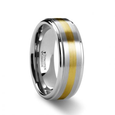 Thorsten LONDON Raised Brushed Tungsten Carbide Ring with Gold Inlay - 8 mm